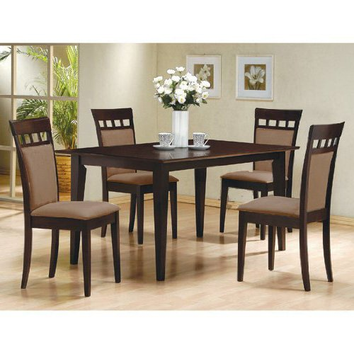 Dining Room Furniture 5pc Mahogany Stained Wood Round: 5 PC Espresso Brown 4 Person Table
