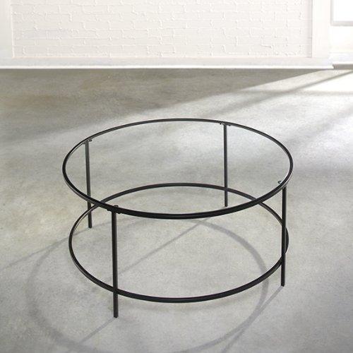 Sauder Soft Modern Round Coffee Table Black Clear Glass