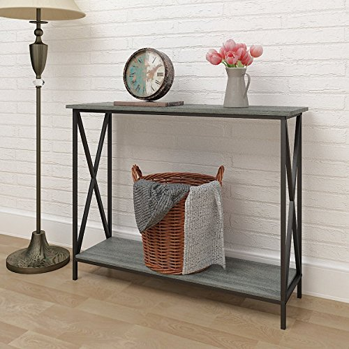 Weathered Grey Oak Finish Metal X Design Chair Side End Table With 3 Tier Shelf