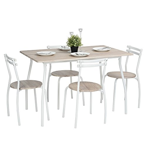 Lillyarn 5Pcs Dining Set Breakfast Table and Chairs Set Metal Dinette Set  Kitchen Furniture for 4 PersonLillyarn 5Pcs Dining Set Breakfast Table and Chairs Set Metal  . Ship Dining Room Set. Home Design Ideas