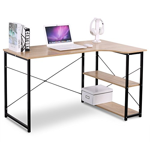 Elegant L Shaped Solid Wood Kitchen Cabinets Latest: WOLTU L Shaped Computer Desk Solid Wood Book Table With 3