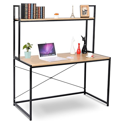 woltu computer desk bookshelves compact home notebook desk large wood and metal sturdy waokstation table woodlook dek1002wdlsuitable computer table for your - Desks With Bookshelves