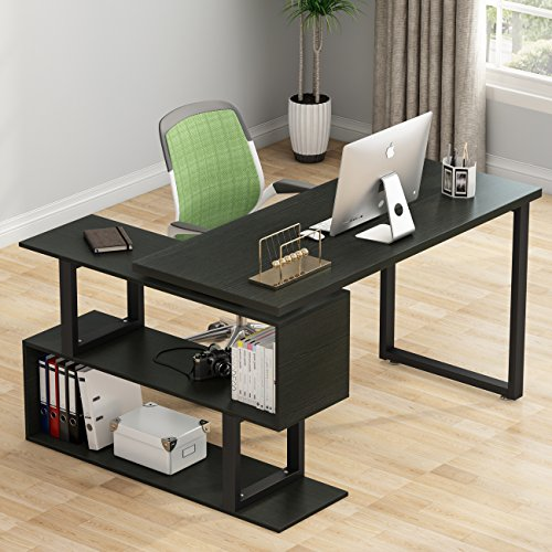 Tribesigns Modern L Shaped Desk 55 Rotating Desk Corner