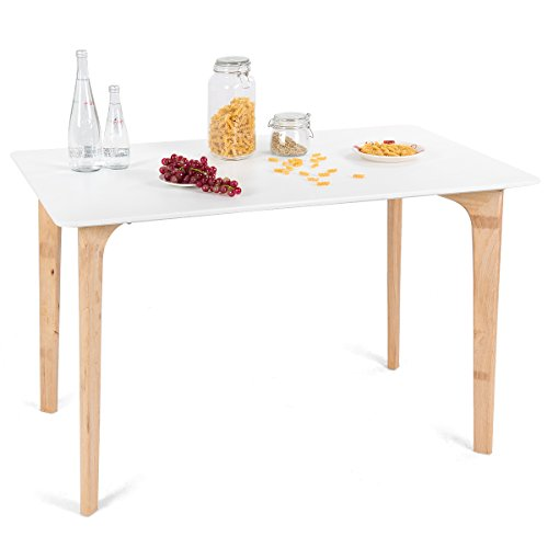 a9226269659a Giantex Modern Dining Table Mid-Century Home Dining Room Kitchen Table  w Rectangular Top Wood Legs 47.5″ x 27.5″ White