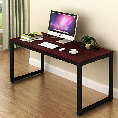 SHW Home Office 55-Inch Large Computer Desk, Cherry