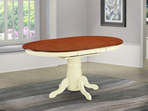 oval table with 18″ butterfly leaf  buttermilk and cherry